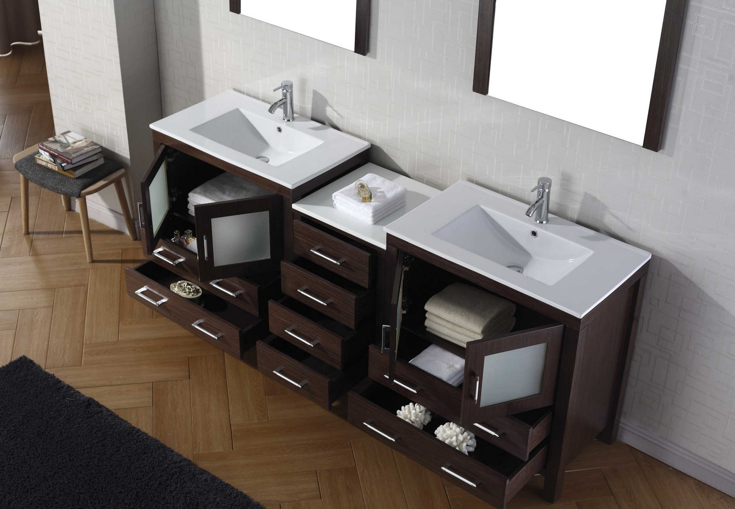 virtu usa dior 78 double bathroom vanity cabinet set in white italian