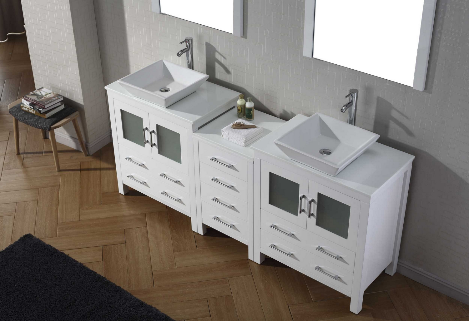 virtu usa dior 78 double bathroom vanity cabinet set in white pure