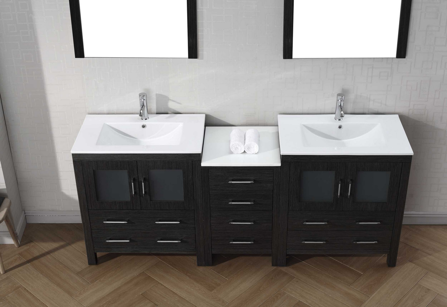 virtu usa dior 78 double bathroom vanity cabinet set in zebra grey