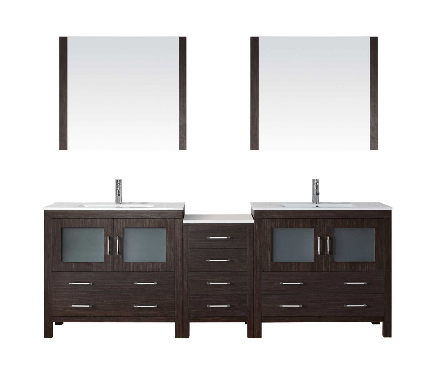 usa dior 90 double bathroom vanity cabinet set in espresso ceramic