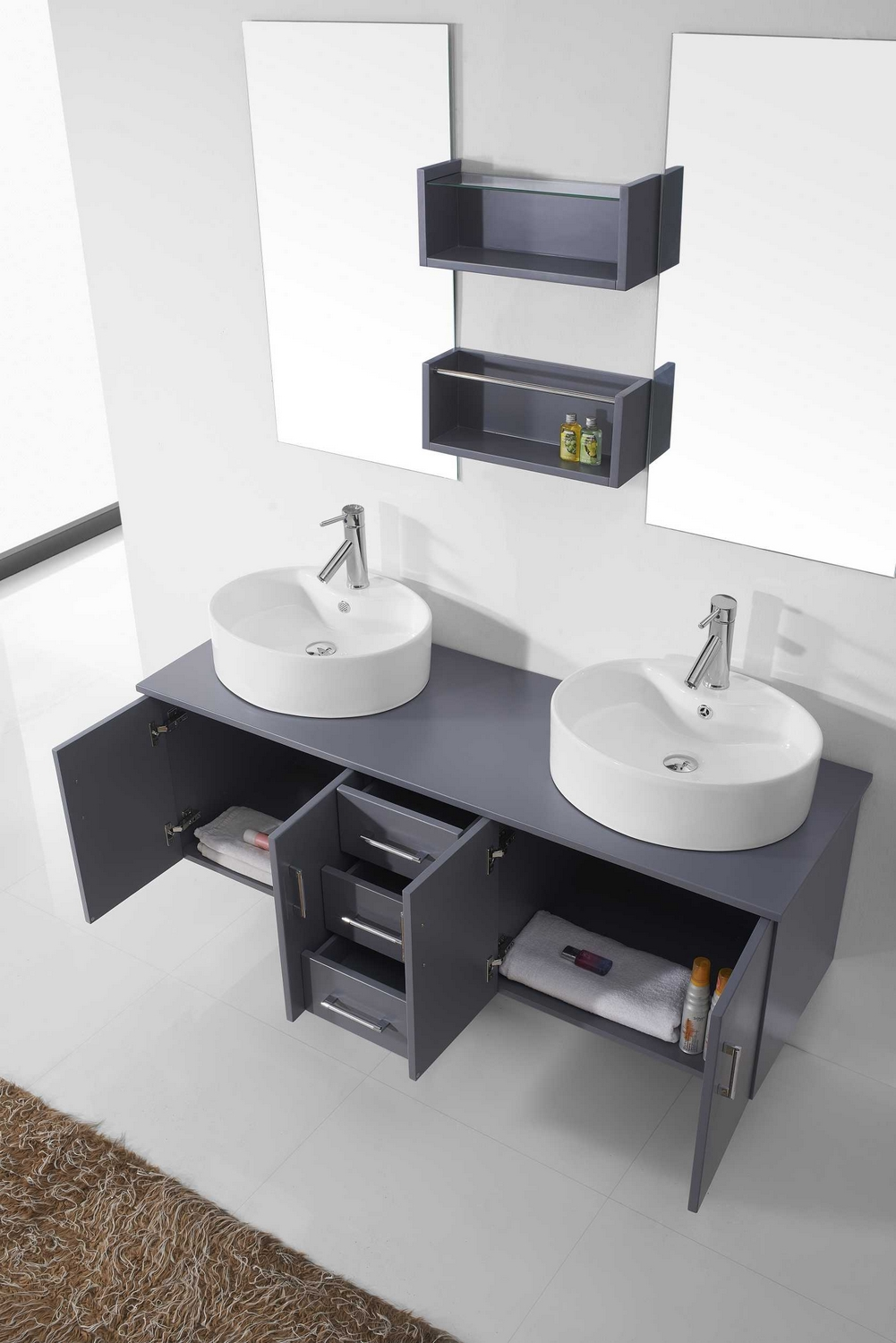 Virtu Usa Enya  Double Bathroom Vanity Cabinet Set In Grey