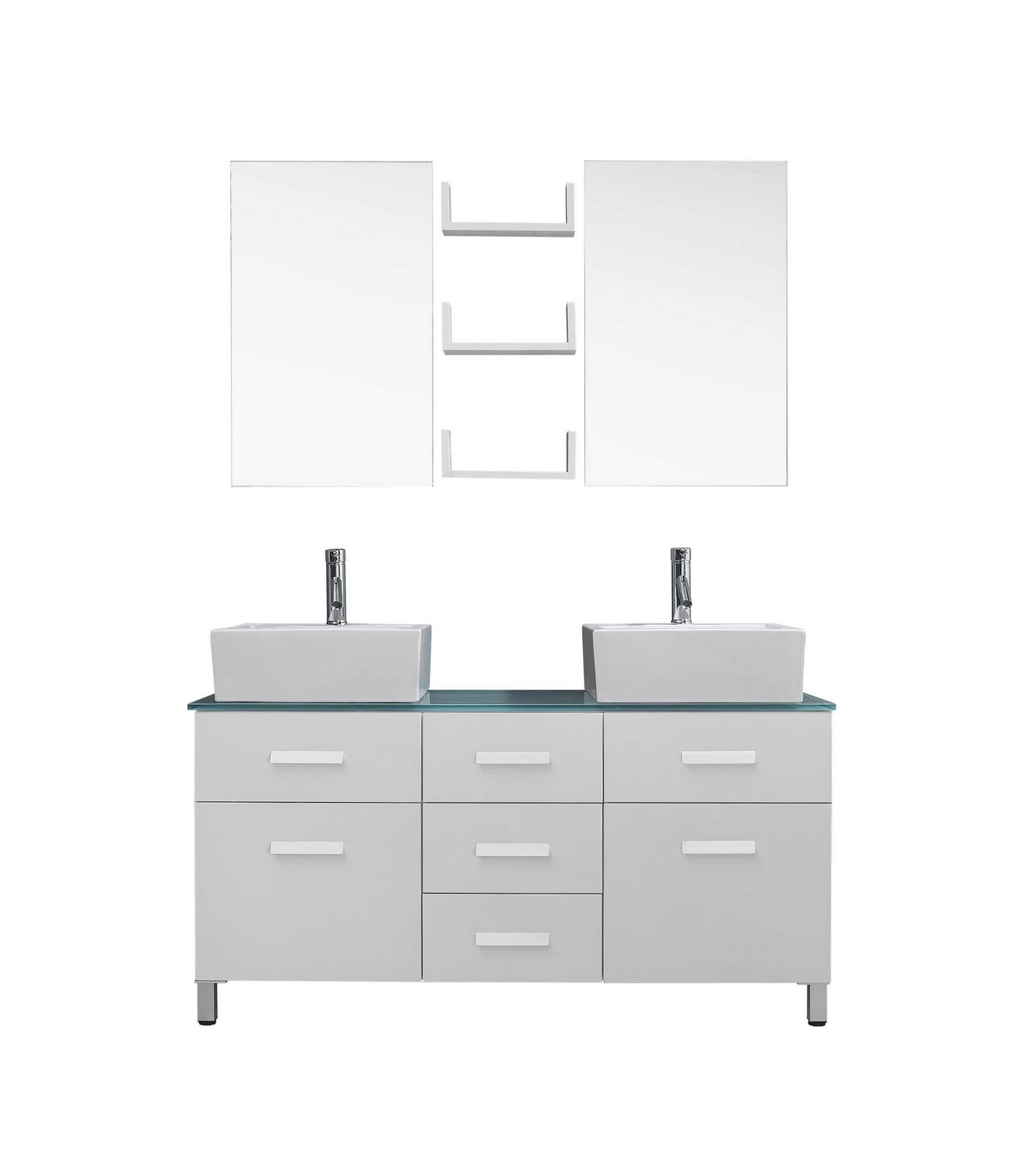 "Virtu USA Maybell 56"" Double Bathroom Vanity Cabinet Set in WhiteTempere"