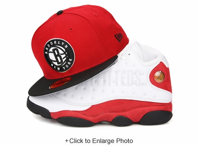 """Brooklyn Nets Scarlet Jet Black Glacial White Air Jordan XIII """"Chicago"""" New Era Fitted Cap"""