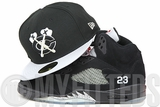 Chicago Blackhawks Jet Black Metallic Silver Air Jordan V Black Metallic Silver New Era Hat