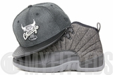"Chicago Bulls Dark Grey Heathered Jet Black Pebbled Air Jordan XII ""Wool"" Matching New Era Snapback"