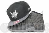 "Chicago Bulls Jet Black Carbon Graphite Grey Flag Air Jordan VIII ""Chrome"" New Era Snapback Hat"