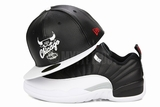 "Chicago Bulls Jet Black Faux Pebbled Air Jordan XII Low ""Playoffs"" Matching New Era Snapback"