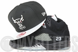 Chicago Bulls Jet Black Metallic Silver Air Jordan V Black and Silver Matching New Era Snapback