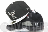 Chicago Bulls Jet Black Metallic Silver Sparkle Air Jordan V Black Silver Matching New Era Hat