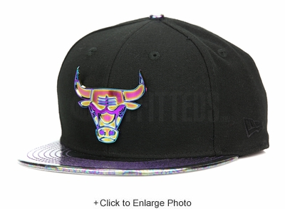 Chicago Bulls Oil Tricked Metal Badge Jet Black Multi-Color New Era 9FIFTY Snapback
