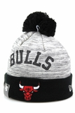 Chicago Bulls Side Loop Grey Tactical Fleece Jet Black Team Color New Era Winter Pom Knit Beanie