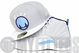 """Golden State Warriors Placid Gray Glacial White Ultra Blue Air Jordan XII """"Wolf Grey"""" UNC New Era Hat"""