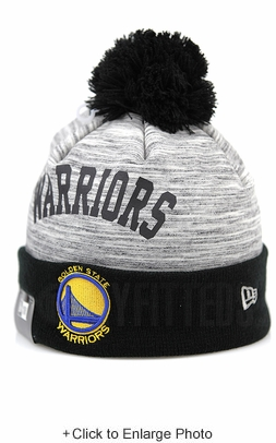 Golden State Warriors Side Loop Grey Tactical Fleece Jet Black Team Color New Era Winter Pom Knit Beanie