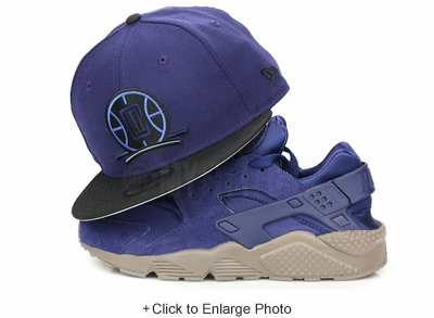 Los Angeles Clippers Collegiate Navy Jet Black Air Huarache Run SE Binary Blue New Era Hat