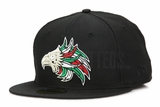 "Mexican Eagle ""Hecho en Mexico"" Jet Black Lucky Green Scarlet Custom New Era Fitted Cap"