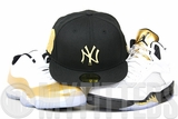 "New York Yankees 2000 Subways Series Jet Black Gold Metal Air Jordan V ""Gold Coin"" / XI ""Closing Ceremony"" New Era Hat"