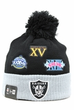 Oakland Raiders Super Bowl Champions Team Patcher New Era Winter Pom Knit Skully