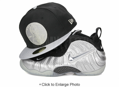 "Penny 1¢ One Cent Jet Black Metallic Silver Air Foamposite Pro PRM ""Silver Surfer"" New Era Fitted Cap"