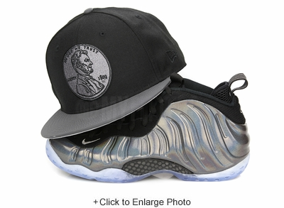 "Penny 1¢ One Cent Jet Black Carbon Reflective Air Foamposite One ""Hologram"" New Era Hat"