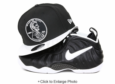 """Penny 1¢ One Cent Jet Black Glacial White Air Foamposite Pro """"Doctor Doom"""" Matching New Era Snapback"""
