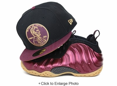 "Penny 1¢ One Cent Jet Black Intense Maroon Air Foamposite One ""Night Maroon"" New Era Fitted Cap"