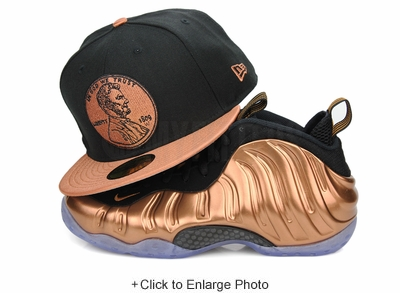 "Penny 1¢ One Cent Jet Black Metallic Copper Air Foamposite One ""Metallic Copper"" New Era Snapback"