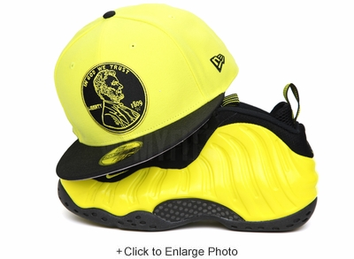 """Penny 1¢ One Cent Jet Black Moonbeam Air Foamposite One """"Wu-Tang"""" New Era Hat"""