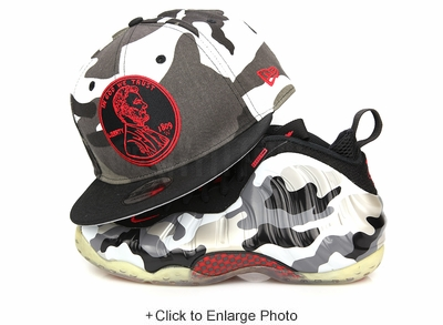 """Penny 1¢ One Cent Urban Camouflage Jet Black Air Foamposite One """"Urban Fighter Jet"""" New Era Snapback"""