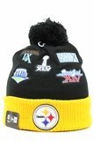 Pittsburgh Steelers Super Bowl Champions Team Patcher New Era Winter Pom Knit Skully