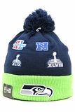 Seattle Seahawks Super Bowl Champions Team Patcher New Era Winter Pom Knit Skully