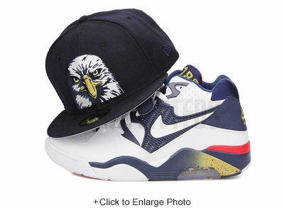 USA The Bald Eagle Midnight Navy Metallic Gold Glacial White Custom New Era Fitted Cap