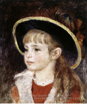 Painting reproduction of Jeanne Henriot (Girl in a Blue Hat) by Pierre-Auguste Renoir