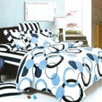 [Artistic Blue] 100% Cotton 4PC Sheet Set (Queen Size)