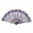 Foldable Raw Silk Printing Folding Fan FS008-ROSE-GOLD-GLITTER-BLACK-2PC
