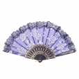Foldable Raw Silk Printing Folding Fan FS008-ROSE-GOLD-GLITTER-BLUE-2PC