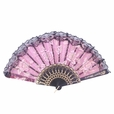 Foldable Raw Silk Printing Folding Fan FS008-ROSE-GOLD-GLITTER-RED-2PC