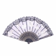 Foldable Raw Silk Printing Folding Fan FS008-ROSE-GOLD-GLITTER-WHITE-2PC