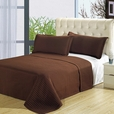 Luxury Chocolate Brown Checkered Quilted Wrinkle Free Microfiber 3 Piece Coverlets Set King/Calking