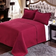 Luxury Burgundy Checkered Quilted Wrinkle Free Microfiber 2 Piece Coverlets Set Twin/Twin XL