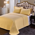 Luxury Gold Checkered Quilted Wrinkle Free Microfiber 2 Piece Coverlets Set Twin/Twin XL