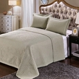 Luxury Sage Checkered Quilted Wrinkle Free Microfiber 2 Piece Coverlets Set Twin/Twin XL