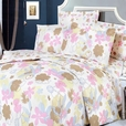 [Pink Brown Flowers] 100% Cotton 4PC Duvet Cover Set (Queen Size)