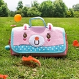 [Pink Rabbit] Embroidered Applique Pencil Pouch Bag / Cosmetic Bag / Carrying Case (7.9*4.3*1.4)