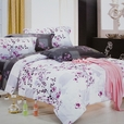 [Plum in Snow] 100% Cotton 4PC Comforter Cover/Duvet Cover Combo (King Size)