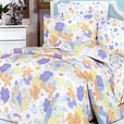[Purple Orange Flowers] 100% Cotton 5PC Comforter Set (Queen Size)