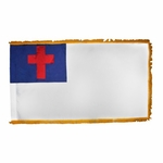 3' X 5' Indoor Christian Flag - Fringed or Unfringed