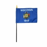 "4"" X 6"" Wisconsin Stick Flags"