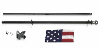 All American Flag Set with Black Pole