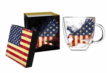 American Eagle Double Wall Glass Coffee Cup w/ Box