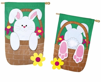 Applique Bunny Basket Coming and Going Flag